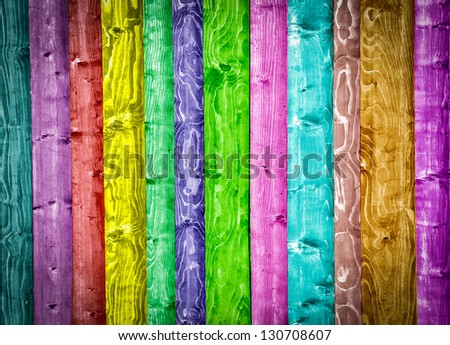 Colorful wooden rainbow background - stock photo