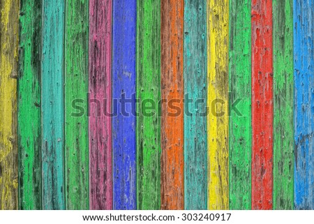 Colorful wooden tiles. Colored wood background. Blue green yellow red shabby chic wallpaper texture - stock photo