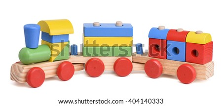 Colorful wooden toy train isolated on white - stock photo
