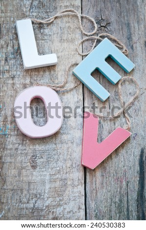 Colorful Wooden word love  - stock photo