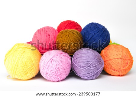 Colorful wool yarn balls - stock photo