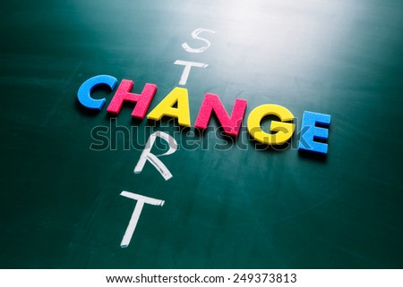 Colorful word change and writing word start crossing on blackboard - stock photo