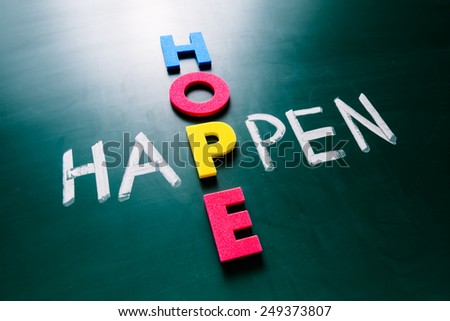 Colorful word hope and writing word happen crossing on blackboard - stock photo
