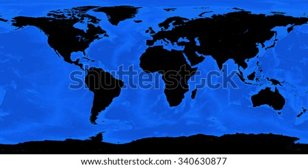 Colorful world map illustration. Blue and black color. High detail. Elements of this image furnished by NASA. - stock photo