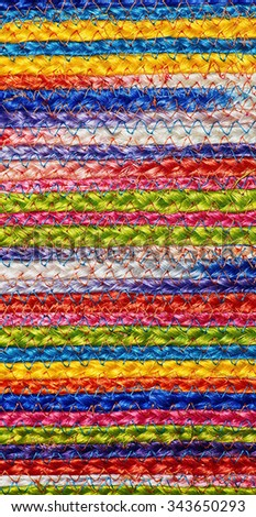 Colorful woven sisal wool rug taxtures & background - stock photo