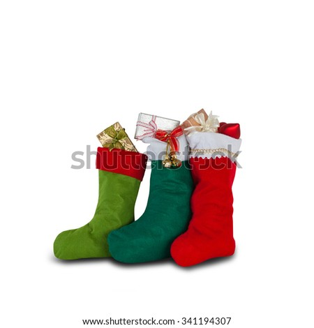 Colorful xmas socks. red, green, dark green color. christmas gifts, decoration element, isolated, white background - stock photo