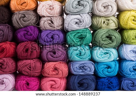 colorful yarn isolated on white background - stock photo