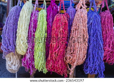 Colorful yarn made from alpaca of the Andes mountains - stock photo