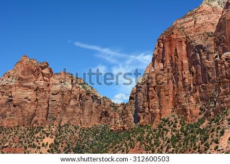 Colorful Zion National Park Landscape - stock photo