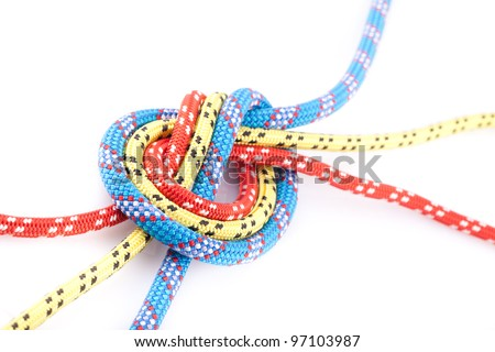 colorfull rope knot - stock photo