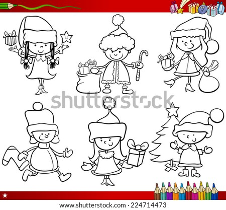 Coloring Book Cartoon Illustration of Black and White Christmas Themes Set with Children in Santa Claus Costumes - stock photo