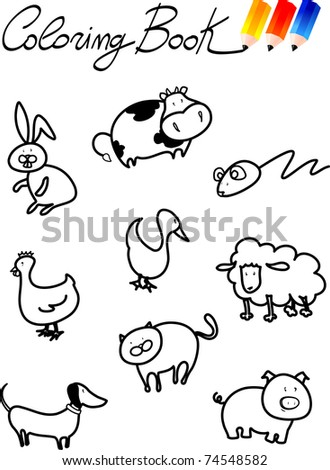 Coloring book for children, farm animals - stock photo