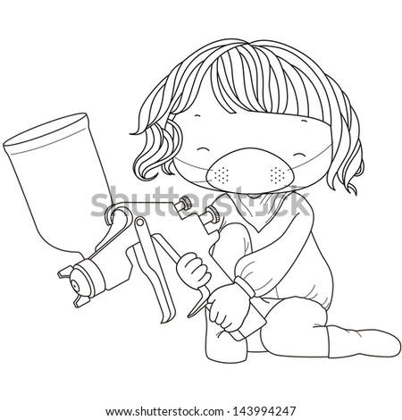 coloring illustration of a girl with spray gun. - stock photo