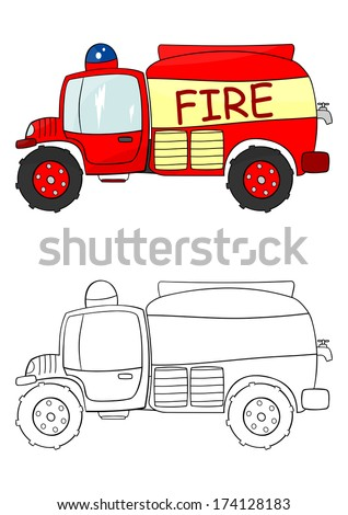Coloring page with a cartoon fire engine on a white background. Raster - stock photo