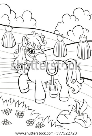 Coloring pages. Little cute monkey is hanging on the tree branch, smiling and pointing somethere. - stock photo