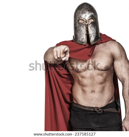 Colorless image of warrior who is pointing on something - stock photo
