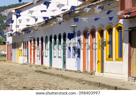 colors and architecture in Paraty in Brazil - stock photo