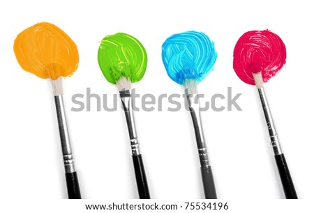 Colors and brushes - stock photo