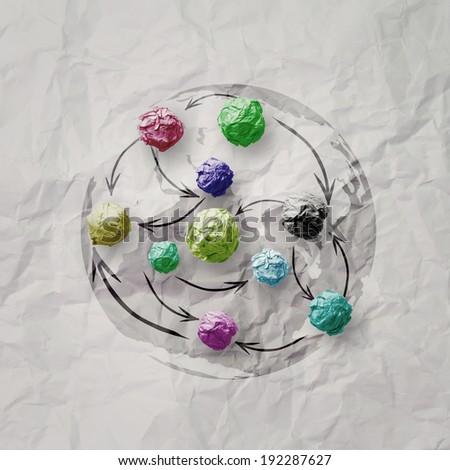 colors crumpled paper ball as social network structure on wrinkled paper creative concept  - stock photo