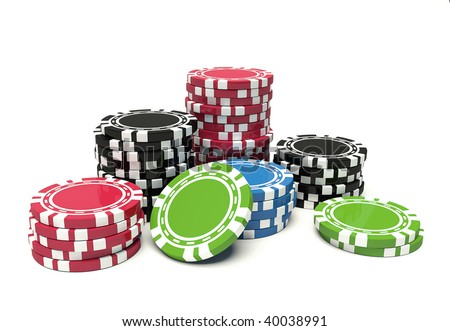 colors gambling chip - stock photo