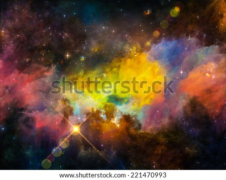 Colors in Space series. Abstract design made of colorful clouds and space elements on the subject of art, creativity, imagination, science and design - stock photo
