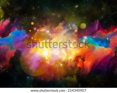 Colors in Space series. Composition of colorful clouds and space elements on the subject of art, creativity, imagination, science and design - stock photo
