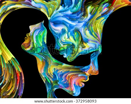 Colors In Us series. Interplay of Human profiles and swirls of colorful paint on the subject of emotion, passion, desire, feelings, inner world, imagination and creativity - stock photo