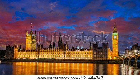 Colors, Lights and Architecture of London in Autumn - England - stock photo