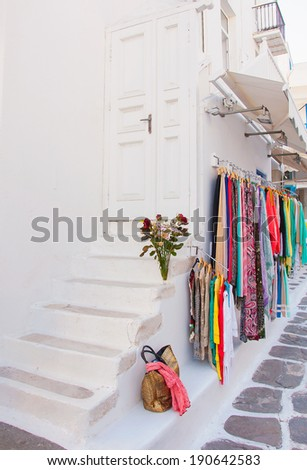 colors of Greece - pictorial streets of Cycladic islands - stock photo