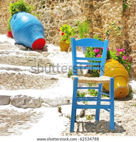 colors of Greece - traditional village style - stock photo