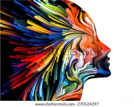Colors of Imagination series. Composition of streaks of color with metaphorical relationship to art, creativity, imagination and graphic design - stock photo