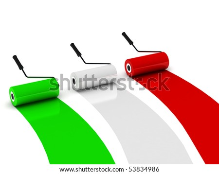 Colors of Italy. Paint roller isolated on white background. High quality 3d render. - stock photo