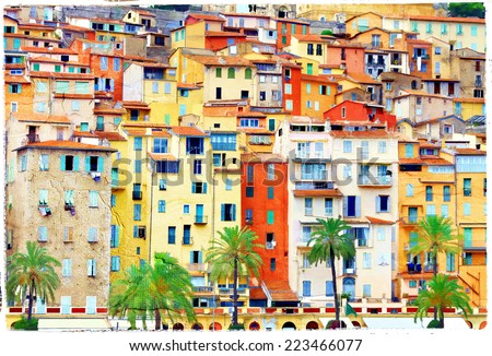 colors of mediterraneans. Houses of Menton, artstic picture - stock photo
