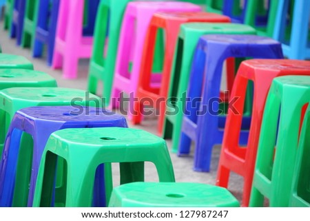 colors of plastic chair - stock photo