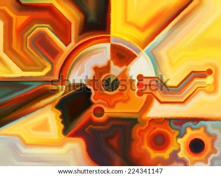 Colors of the Mind series. Abstract arrangement of elements of human face, and colorful abstract shapes suitable as background for projects on mind, reason, thought, emotion and spirituality - stock photo