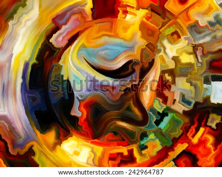 Colors of the Mind series. Backdrop of  elements of human face, and colorful abstract shapes to complement your design on the subject of mind, reason, thought, emotion and spirituality - stock photo