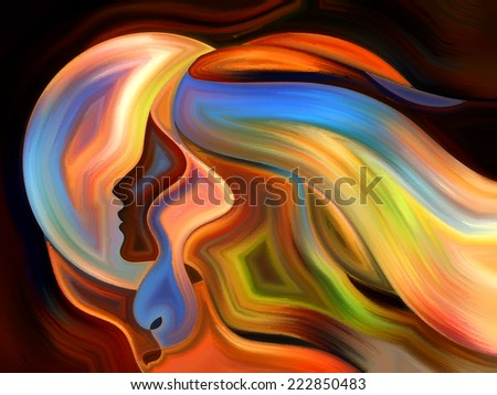 Colors of the Mind series. Background composition of  elements of human face, and colorful abstract shapes to complement your layouts on the subject of mind, reason, thought, emotion and spirituality - stock photo