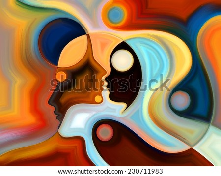 Colors of the Mind series. Composition of elements of human face, and colorful abstract shapes suitable as a backdrop for the projects on mind, reason, thought, emotion and spirituality - stock photo