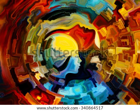 Colors of the Mind series. Composition of  elements of human face, and colorful abstract shapes to serve as a supporting backdrop for projects on mind, reason, thought, emotion and spirituality - stock photo