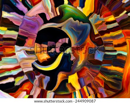 Colors of the Mind series. Interplay of elements of human face, and colorful abstract shapes on the subject of mind, reason, thought, emotion and spirituality - stock photo