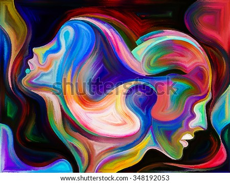 Colors of Unity series. Abstract arrangement of colorful and surreal human profiles suitable as background for projects on love, passion, romantic attraction and unity - stock photo