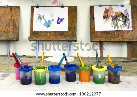 Colors, painting and drawing of little children. - stock photo