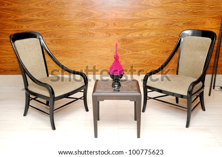 colors with chair table and flower - stock photo
