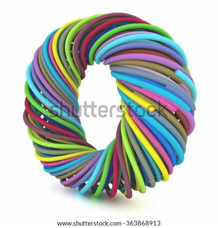 Colors zero stylized wires, isolated on white background. - stock photo