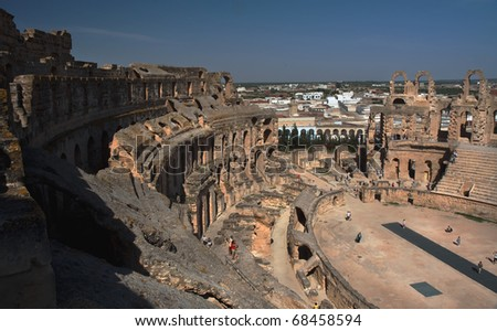 Coloseum in El Djem, Tunisia - stock photo