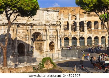 Colosseo and arco di costantino,  Rome - stock photo