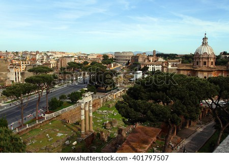 Colosseum and Imperial Forums in Rome - stock photo