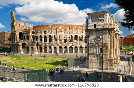 Colosseum Arch of Constantine, Rome, Italy - stock photo