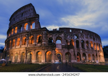 Colosseum at dusk in Rome   - stock photo