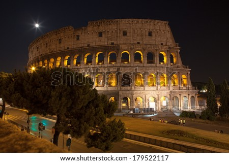 Colosseum at night, Rome Italy  - stock photo